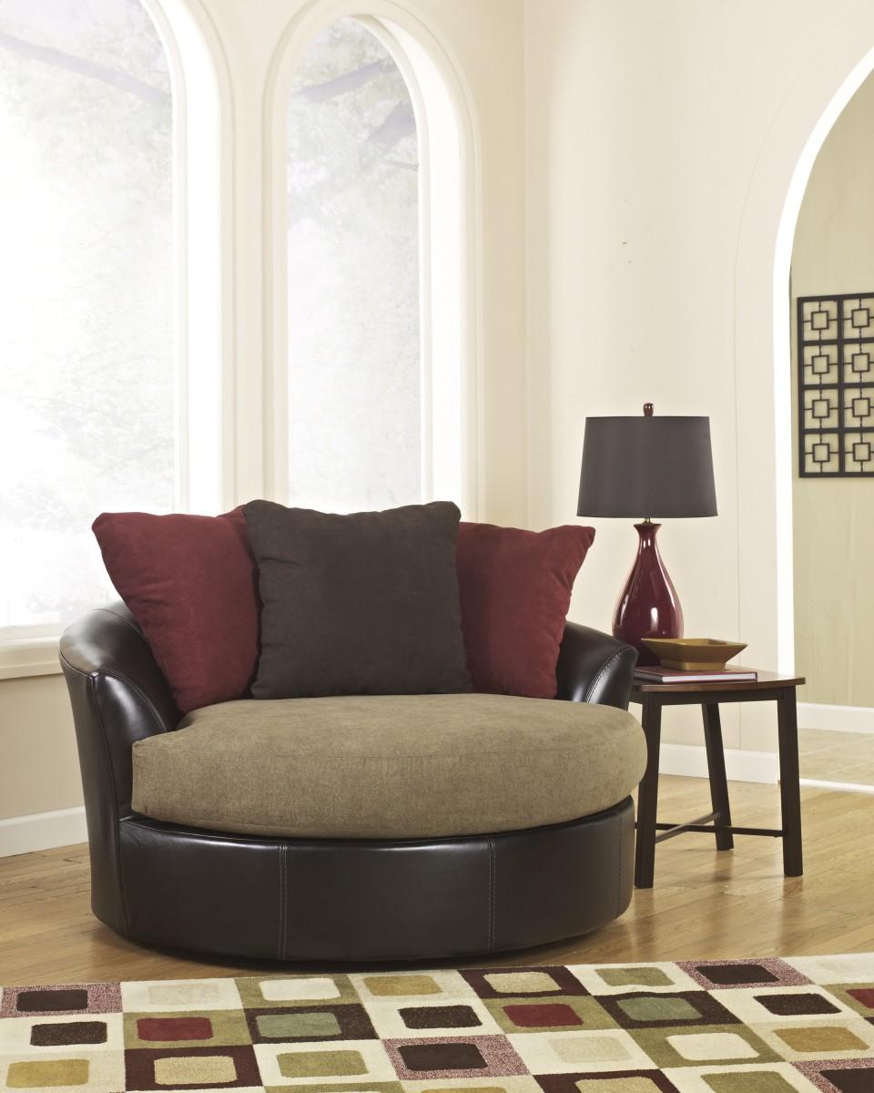 2840021 Ashley Sanya Oversized Swivel Accent Chair Mocha DeWaard Bode