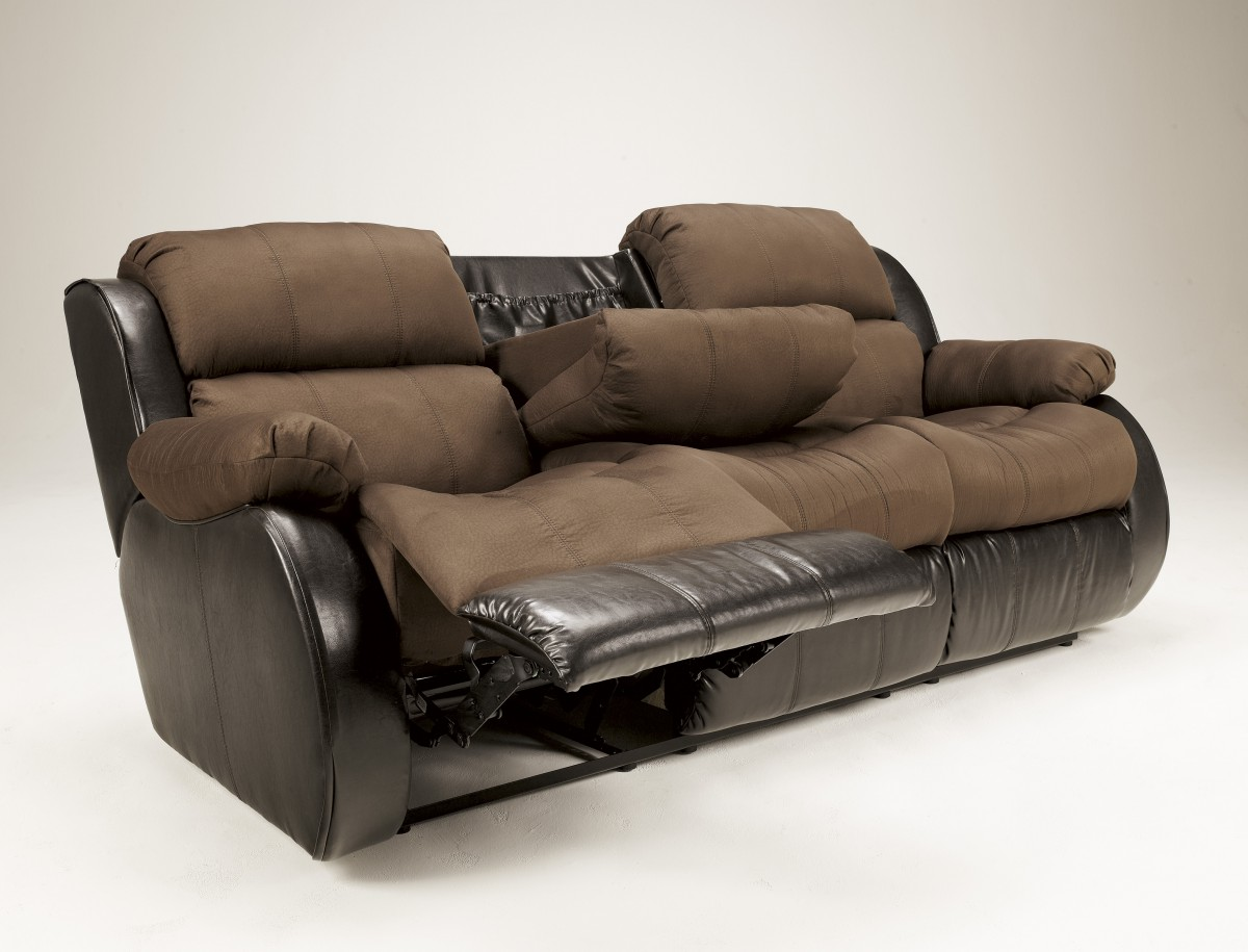 3150089 signature by ashley presley rec sofa with drop for Sectional sofa with drop down table
