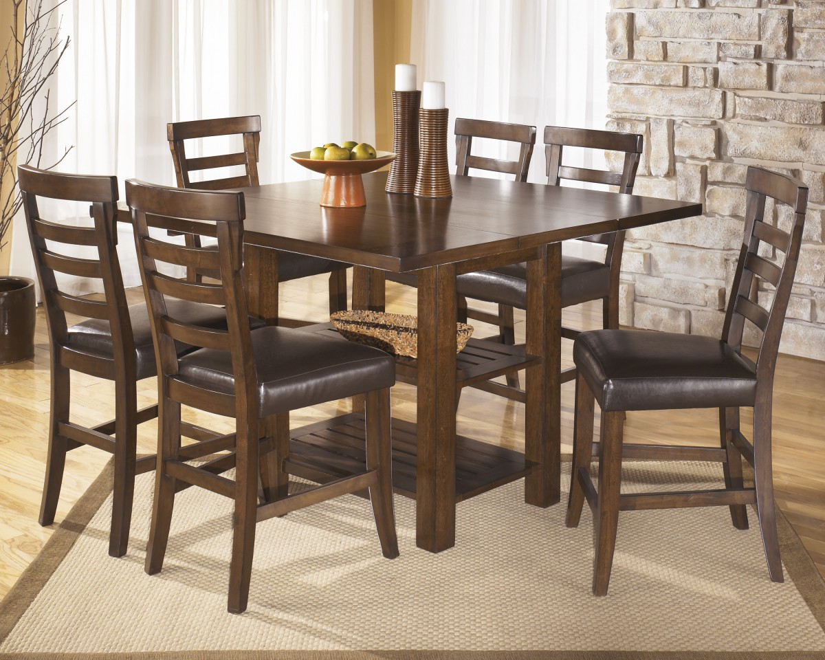 D544 32 Signature Design By Ashley Pinderton Square Drm Counter Ext Table Dark Brown Knie