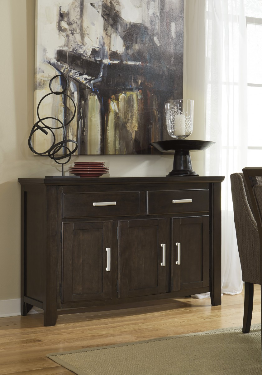 D681-60 Signature by Ashley Lanquist Dining Room Server Dark Brown ...