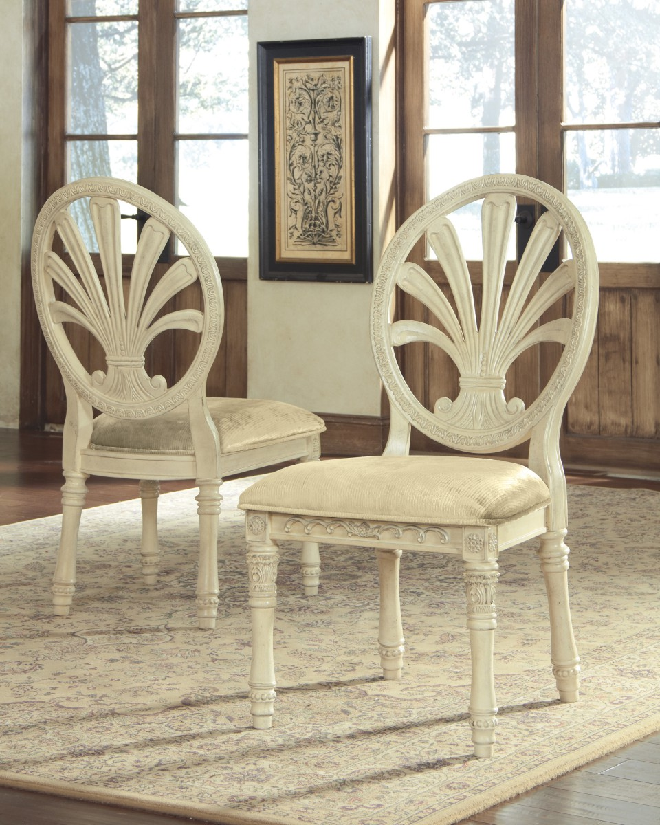 Ashley antique white round table set - Signature By Ashleyortaniquedining Uph Side Chair 2 Cn