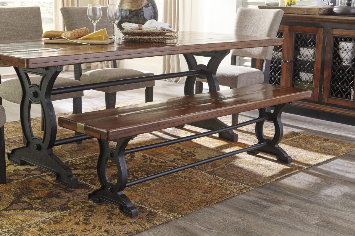 d709 00 signature by ashley zurani large dining room bench brown