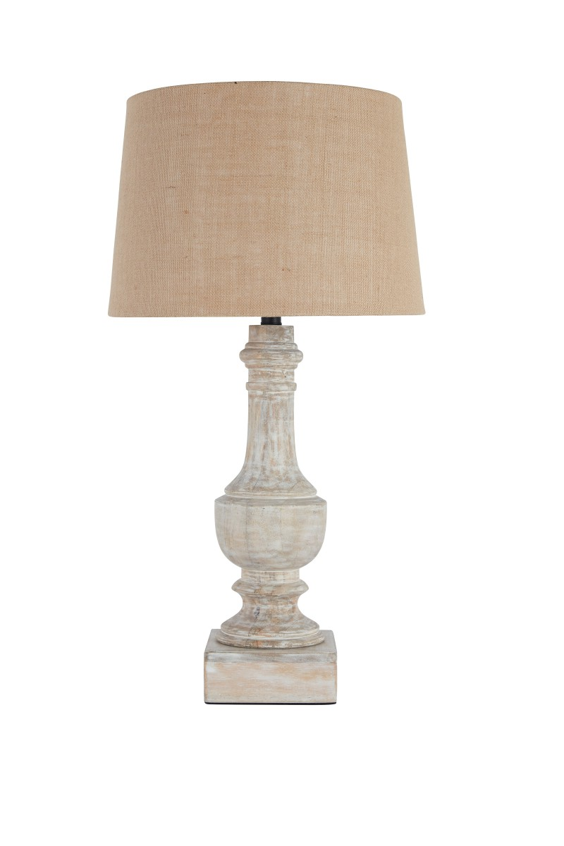 L327104 signature design by ashley shamree wood table lamp 1 cn white wash pieratt 39 s for Wooden table lamps for living room