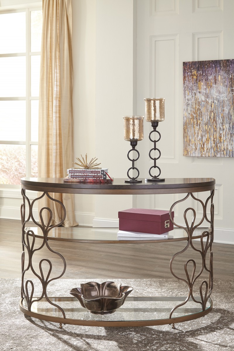 T Signature By Ashley Fraloni Sofa Table Bronze Finish - Ashley center table