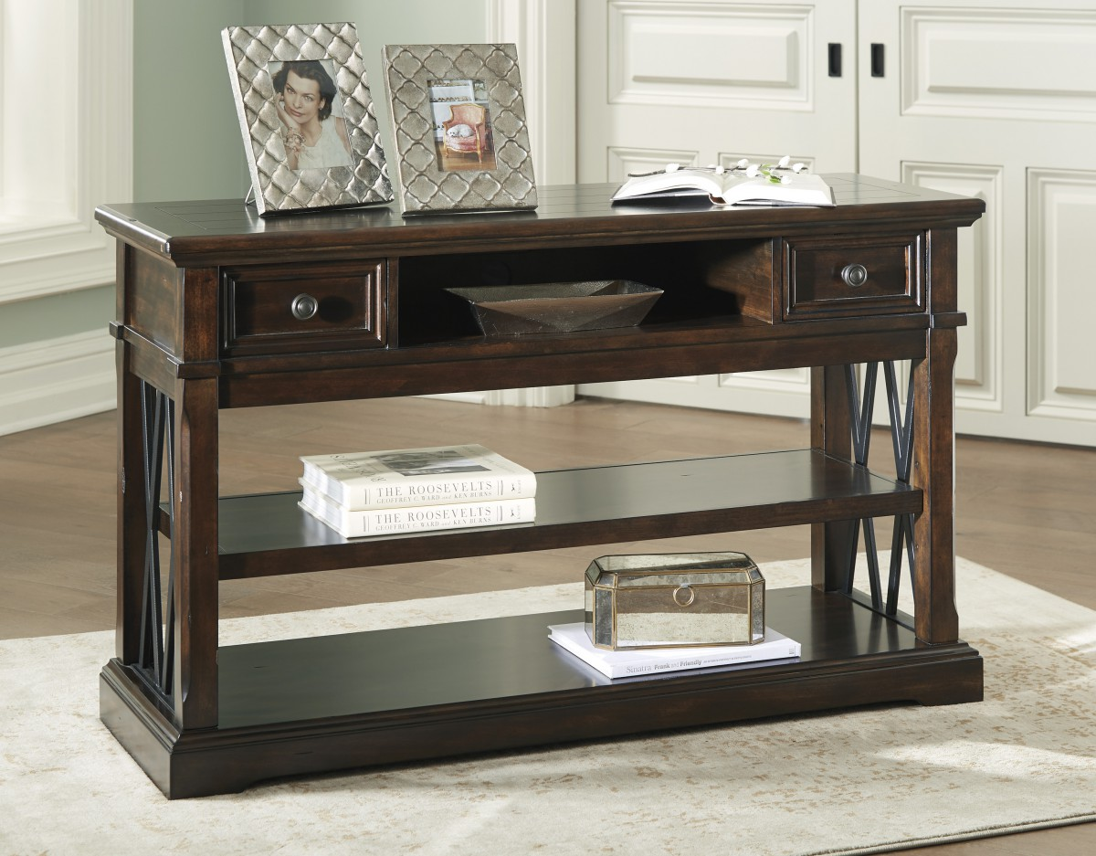 T Signature By Ashley Roddinton Sofa Table Dark Brown - Ashley center table