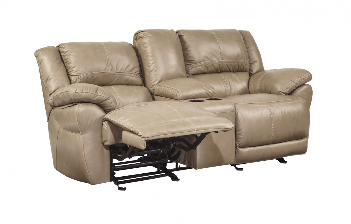 U9890443 Signature By Ashley Lenoris Glider Rec Loveseat With Console Caramel Charlotte